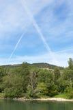 Dampf-Spuren, Rhône-Tal, Frankreich Lizenzfreies Stockfoto
