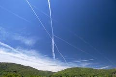 Dampf-Spuren, Rhône-Tal, Frankreich Lizenzfreie Stockfotos