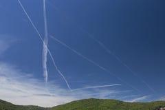 Dampf-Spuren, Rhône-Tal, Frankreich Stockfotos