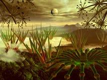 Dampfiger Dschungel auf weit entferntem Planeten vektor abbildung