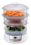 Dampfkocher mit Gemüse Stockfotos