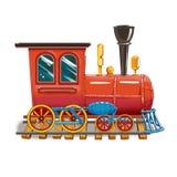 Dampflokomotive auf den Bahnen lizenzfreie abbildung