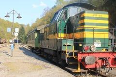 Dampflokomotive in Vernarrt-De-Gras, Luxemburg Lizenzfreies Stockbild