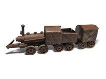 Dampflokomotiveisenmodell der Weinlese braunes rostiges lokalisiert Lizenzfreie Stockfotos