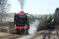 Dampflokomotivzahl 70013 Oliver Cromwell in Keighley-Bank O stockbild