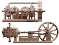 Dampfmotorfrontseite und -seite Stockbilder