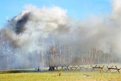 Dampfwolke auf dem Schlachtfeld Stockfotografie
