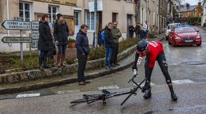 The Cyclist Jelle Wallays - Paris-Nice 2018 stock photos