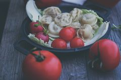 Damplings用沙拉和地面胡椒 免版税库存照片