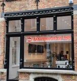 Dampwinkel store front. Bruges, Belgium - April 28 2018: Store frontage of Dampwinkel vape shop on Noordzandstraat stock photo