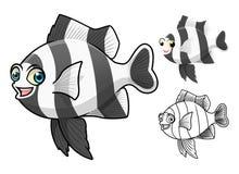Damselfish-Zeichentrickfilm-Figur Streifen der hohen Qualität vier umfassen flaches Design und Linie Art Version Lizenzfreies Stockfoto