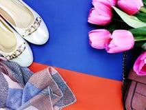 Damskor och lilor för balett hänger löst plana på guling- och blåttbakgrund Royaltyfria Bilder