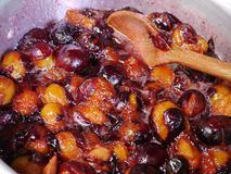 Damson μαγείρεμα μαρμελάδας από μια παλαιά συνταγή στοκ εικόνα