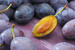 Damson plum (damascene) fruits Royalty Free Stock Photo