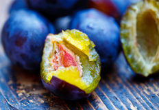 Damson plums. Halved plum and other whole plums on the table Stock Image