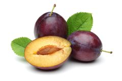 Damson plums with leaf isolated on white. Background stock photo