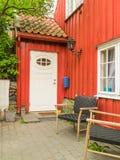 Damstredet,奥斯陆住宅区有老木房子的 奥斯陆,挪威地标首都 库存图片