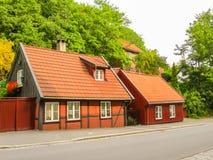 Damstredet,奥斯陆住宅区有老木房子的 奥斯陆,挪威地标首都 库存照片