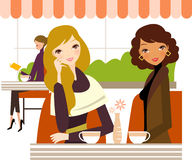 Damtoalett som dricker kaffe stock illustrationer