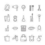 Damy fasonują, kosmetyki i piękno liniowe ikony ustawiać royalty ilustracja