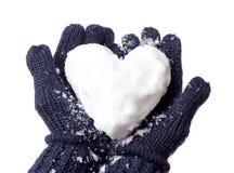 Damy rękawiczka i śniegu serce Obrazy Royalty Free