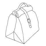Damy torba z kędziorkiem Ręka rysujący czarny i biały nakreślenie Zdjęcia Stock