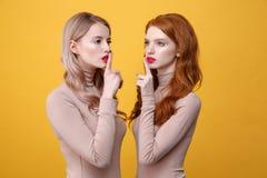 Damy z jaskrawymi makeup wargami robią cisza gestowi Fotografia Stock