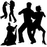 Dança 04 das silhuetas Fotos de Stock Royalty Free