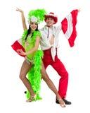 Dança aciganada dos pares do dançarino do flamenco contra o fundo branco isolado Foto de Stock Royalty Free