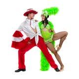 Dança aciganada dos pares do dançarino do flamenco contra o fundo branco isolado Fotos de Stock Royalty Free