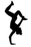Dança adolescente da menina da silhueta ilustração stock