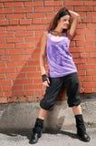 Dança bonita hip-hop do adolescente fotografia de stock