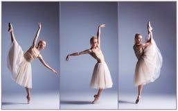 A dança bonita nova da bailarina em um fundo cinzento collage imagens de stock