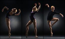 A dança bonita nova da bailarina em um fundo preto collage fotografia de stock