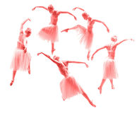 A dança bonita nova do dançarino da bailarina em um fundo branco collage fotografia de stock