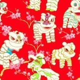 Dança chinesa do leão ilustração royalty free