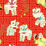 Dança chinesa do leão ilustração stock