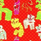 Dança chinesa do leão ilustração do vetor