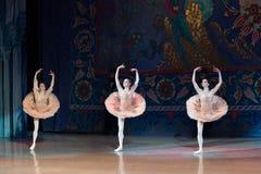 Dança da bailarina do dançarino de bailado durante o bailado Corsar Foto de Stock Royalty Free