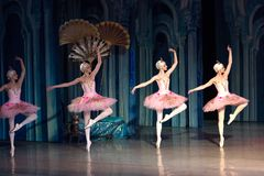 Dança da bailarina do dançarino de bailado durante o bailado Corsar Foto de Stock