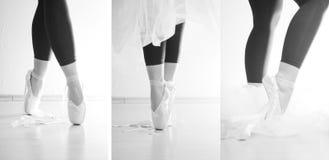 Dança da bailarina em seus dedos do pé fotografia de stock
