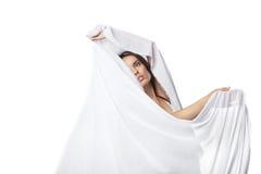 Dança da jovem mulher no vestido branco lindo Imagens de Stock