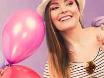 Dança da menina com balões Fotos de Stock Royalty Free