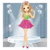 Dança da menina da beleza no clube Ilustração Royalty Free