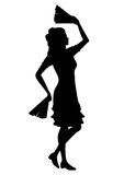 Dança da menina da silhueta com fãs ilustração royalty free