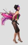 Dança da menina do disco da beleza no espartilho da cor Imagem de Stock Royalty Free
