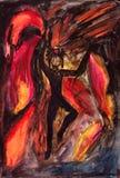 Dança da menina no fogo Fotografia de Stock