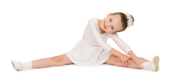Dança da menina no vestido de bola branco fotografia de stock royalty free