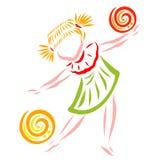 Dança da menina ou jogo com duas bolas, agilidade ilustração stock