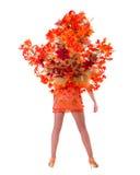 Dança da mulher do dançarino do carnaval contra o branco isolado imagens de stock